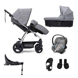 Sola2 6 piece pushchair and car seat set, black/grey marl