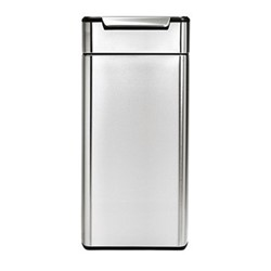 Rectangular touch bar bin, H71cm - 30 litre, brushed stainless steel