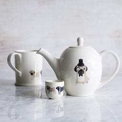 Pug Teapot, H17 x W24cm - 910ml, brown