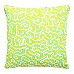 Maze Velvet cushion, W40 x L40cm, yellow/jade/white