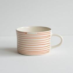 Horizontal Stripe Set of 6 mugs, H7 x W10.5cm, tangerine