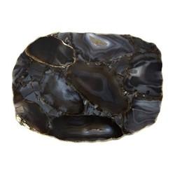 Agate Platter, H2.5 x W25 x D17cm, black