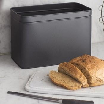 Brompton Bread bin, H24 x W34 x D19cm, carbon/iron/marble