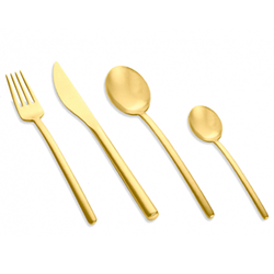 Due 24 piece cutlery set, gold matt