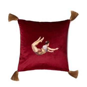 Trapeze Boy Velvet cushion, 45cm, Deep Berry Red