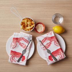 Lobster Set of 4 napkins, 45 x 45cm, coral