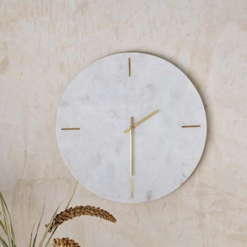 Besa Marble clock, Dia41cm, White