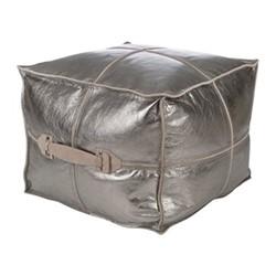 Metallic Leather Pouf, H45 x W45 x D45cm, silver