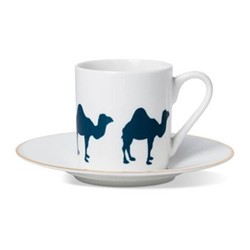 Camel Espresso cup and saucer, H6 x D5.5cm cup - 13cm saucer, hand-painted gold rim