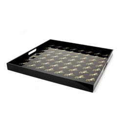 Horse Large acrylic serving tray, 35 x 35cm, black/silver/gold