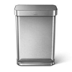 Rectangular pedal bin, H65.5cm - 55 litre, brushed stainless steel