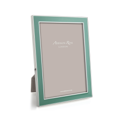 """Enamel Range Photograph frame, 4 x 6"""" with 15mm border, Duck Egg With Silver Plate"""
