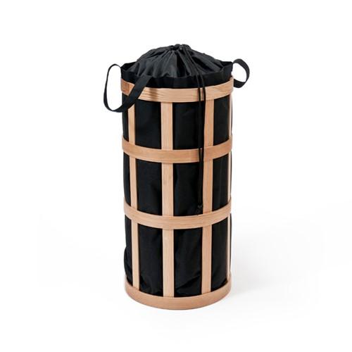 Laundry basket cage, H63 x W31 x D31cm, Black/Oak