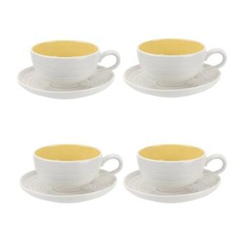 Colour Pop Set of 4 teacups and saucers, 0.20L, sunshine