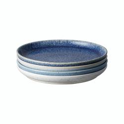 Studio Blue 4 piece coupe dessert plate set, 21 x 2.5cm, Mixed
