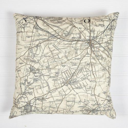 Cushion with personalised map, 45 x 45cm