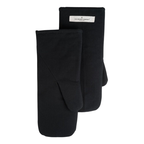 Canvas Large oven mitts, 16 x 35cm, Black