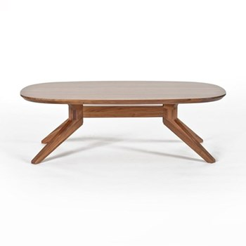 Cross Oval walnut coffee table, H39 x W90 x D77.4cm, walnut