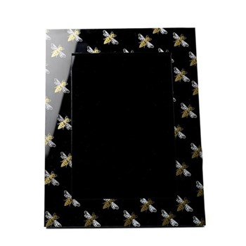 Bee Photograph frame, H26.5 x W21.5 x D2cm, black/gold