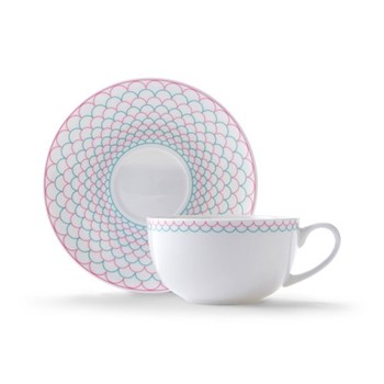 Ripple Cappuccino cup and saucer, H7.5 x D11cm, pink/turquoise
