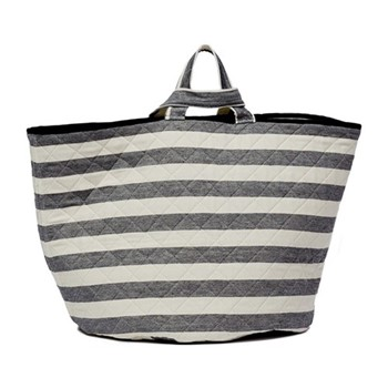 Fastnet Stripe Storage basket, 70 x 40cm, black