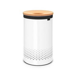 Laundry bin, 60 litre, white with cork lid