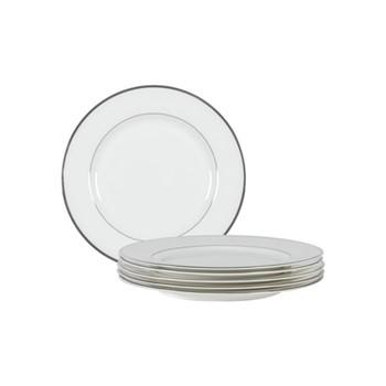 Fenton Set of 6 side plates, D20.4 x H1.8cm, white/platinum