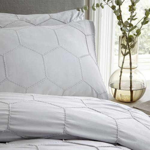 Honeycomb Super king duvet set, Grey