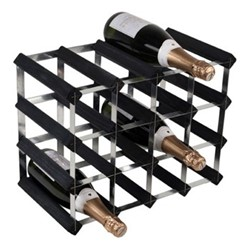 16 bottle wine rack, H33 x W43 x D23cm, black ash/galvanised steel