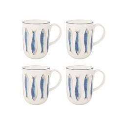 Harlequin Blue Set of 4 mugs, W8.5 x H12cm - 40cl, blue/white