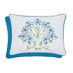 Alyssum Embroidered cushion, L40 x W30 x H10cm, blue