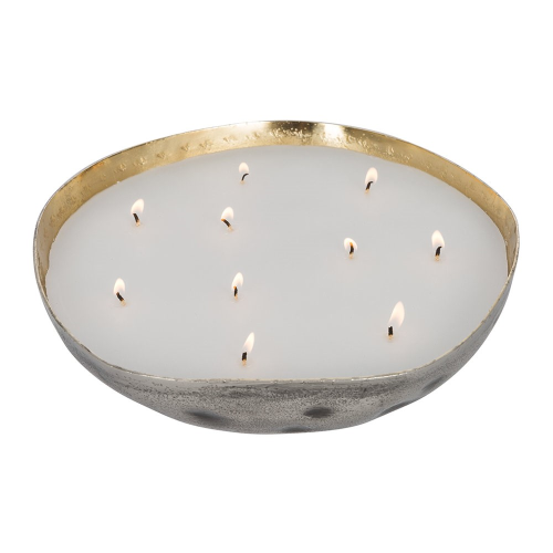 Etched metal candle, H11.5 x Dia28cm
