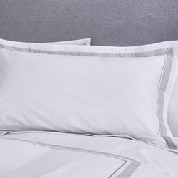 Hepburn Oxford pillowcase, 50 x 75cm, white/grey