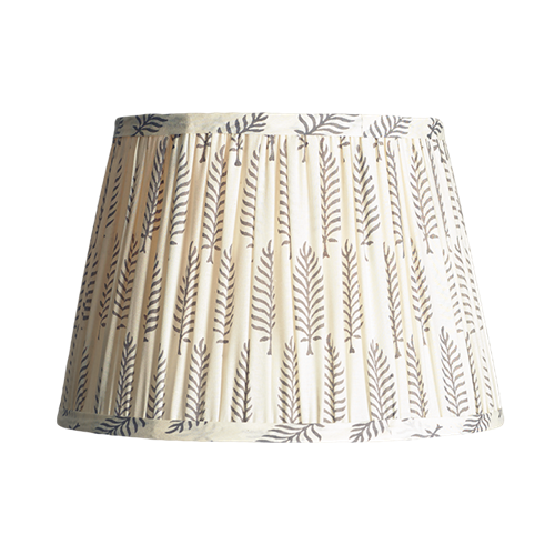Straight Empire Block printed lampshade, 30cm, grey ferns cotton