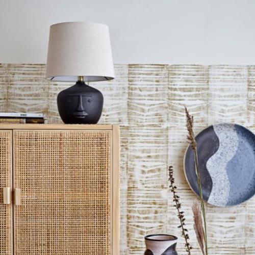 Terracotta Table lamp, H43 x D31cm, Black & White