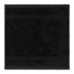 Egyptian Cotton Set of 3 face cloths, W30 x L30cm, black