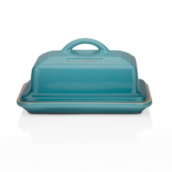 Stoneware Butter dish, 17 x 13 x 9cm, Teal