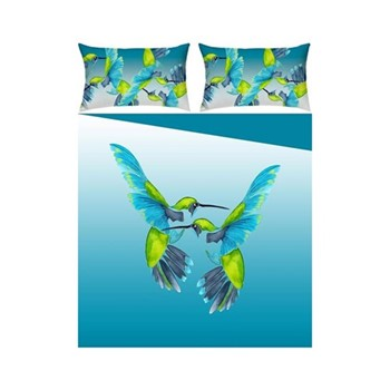 Sipping Nectar Double bed linen set, blue/green - sateen  finish
