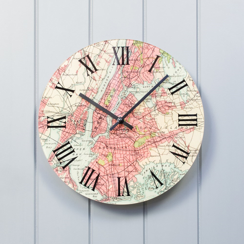 Clock with personalised map, D30cm, glass