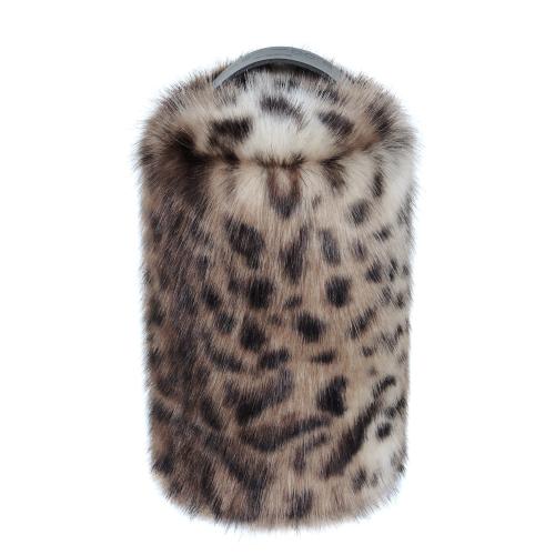 Doorstop, 27 x 15cm, Faux Fur With Leather Handle - Ocelot