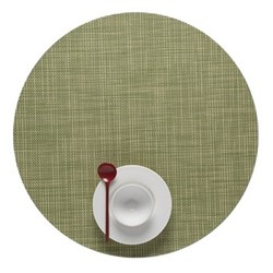 Mini Basketweave Set of 4 round placemats, 38cm, dill