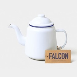 Teapot, 1 litre, white with blue rim