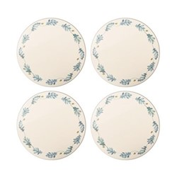 English Oak Set of 4 round tablemats, 25cm, teal/yellow
