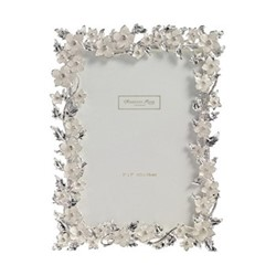 "Silver Leaf and Cream Flower Photograph frame, 4 x 6"", white enamel with silver plate"