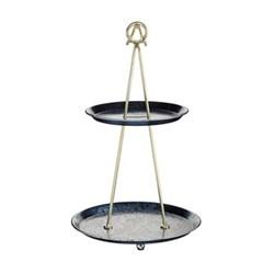 Artesa 2 tier cake stand, H43 x D26cm, blue