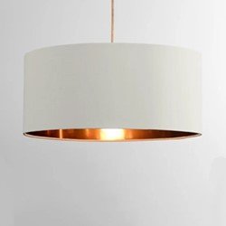 Oro Pendant shade, H20 x W45 x D45cm, white clay & copper