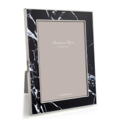 """Marble Photograph frame, 5 x 7"""", Black With Silver Plate"""