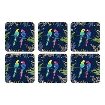 Parrot Set of 6 coasters, 10.5 x 10.5cm