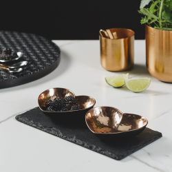 Serving set with a pair of heart bowls, 22 x 11cm, Slate And Copper