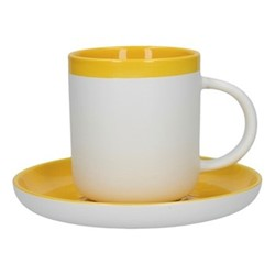 Barcelona Espresso cup and saucer, 130ml, mustard